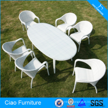 Hotel Used Patio White Synthetic Rattan Dining Set Furniture