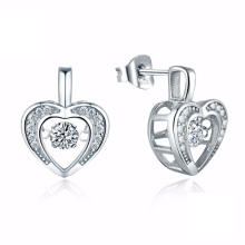 Hot Sales Heart 925 Silver Stud Earrings Dancing Jewelry