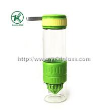 Выжмите стеклянную бутылку с крышкой PP Overversleeve PP