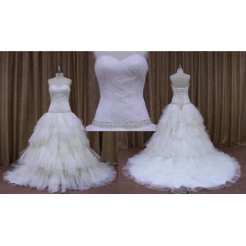 Pleated Bridal Wedding Dress with Beaded Sash