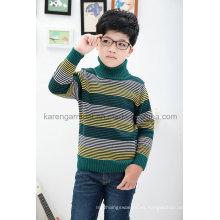 Jersey de cuello alto a rayas de rayas de niños de lana tejida