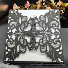 Convites de casamento com corte a laser Black Oco Cartão de convite para fornecimento de festa Impressão gratuita NWI01