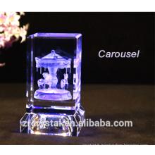 New 3d laser crystal Carousel crystal Eiffel Tower crystal Rose crystal Cake Crystal Cartoon Mouse etc with crystal led base