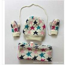 100% Acrílico Fleece Alinhado Kids Knitted Scarf, chapéu & luva conjuntos