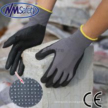 Nmsafety Nylon y spandex cubiertos de espuma de nitrilo Guantes de trabajo con puntos en la palma