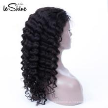 Próprio cabelo peruviano macio longo da peruca do laço da onda de água da fábrica