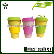 eco-friendly bamboo mug with lid and sleeves