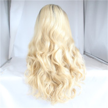 Qingdao Non shedding light brown human hair silk base front full lace wig for black