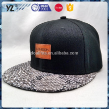 printed brim leather badge snapback cap with leather strap
