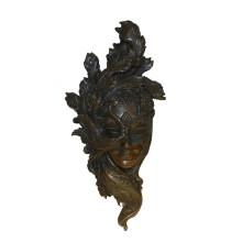 Relievo Brass Statue Female Mask Deco Bronze Sculpture Tpy-884
