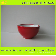 Ceramic Bowl Supplied by China Factory, Wholesale Salad Bowl Inside White Outside Red