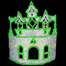 10inch Green Rhinestone Pageant Castle Crowns