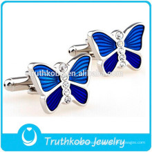 F-C0018 Beautiful Blue Butterfly Cufflinks Shiny Crystal Stainless Steel Material Most Popular Silver Wedding Cufflinks