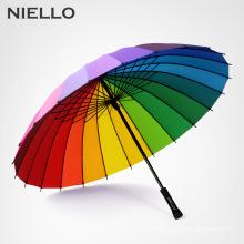 NELLO Rainbow Umbrella Rain Women Brand 24K Windproof Long Handle Umbrellas Strong Frame Waterproof Fashion Colorful Paraguas