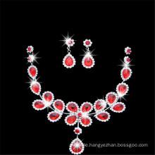 Rote königliche Kristall wulstige Art- und Weisehalskette mit Ohr-Ring