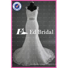 ED Bridal Elegant Cap Sleeve Bead Trabalho Lace Appliques Mermaid Wedding Dress