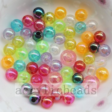 DIY Jewelry clear round beads AB plating acrylic loose beads