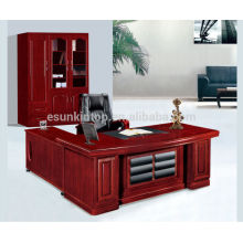 Wooden office furniture manager office desk with leather front panel