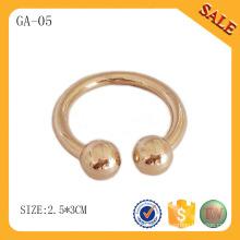 GA05 Accessoires de vêtement étiquette en métal rond en or pour vêtements