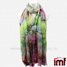 Cashmere Wool Blend House Tree Print Stole or Shawl