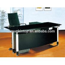 Mesa de escritório em forma de L com projetos de vidro, móveis de escritório de alta qualidade para alta qualidade! (P8060)