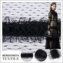 Latest fashion high-end black embroidery chiffon fabric tulle wholesale