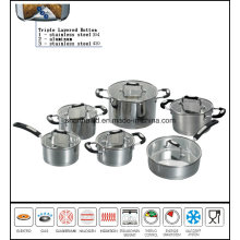 12PCS Stainless Steel Impact Bottom Waterless Cookware Set