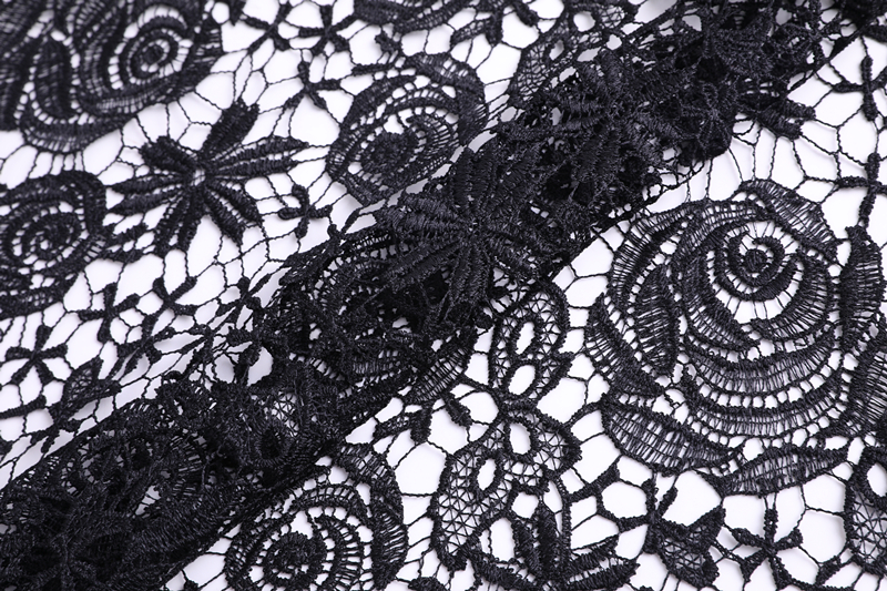 Shiny Black Guipure Fabric