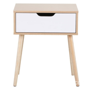White Brown Walnut bedside Table Solid Wood Legs Nightstand Storage Drawer