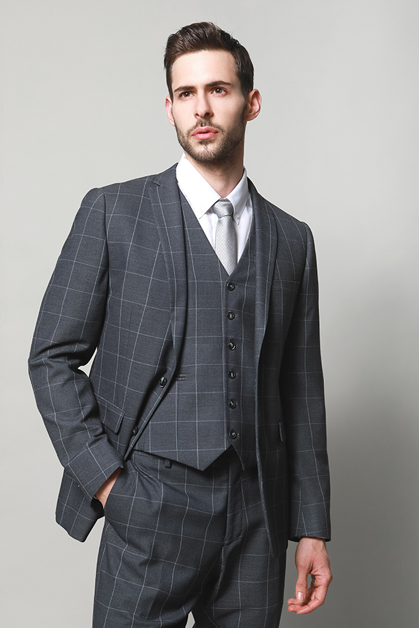 MEN'S SUITS WITH WOOL TOUCH FEEL