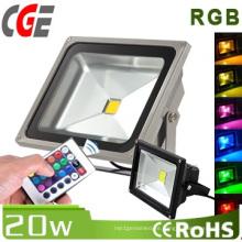 Luz de inundación de 20W IP65 RGB LED usada al aire libre