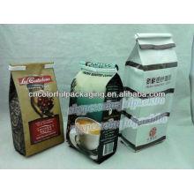 Saco de café da folha de alumínio, com o reforço lateral inferior, formas personalizadas impressão vívida do Gravure e tamanhos aceitados
