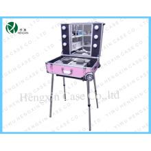 Profissional rosa Light cosméticos Case Makeup Station com luzes