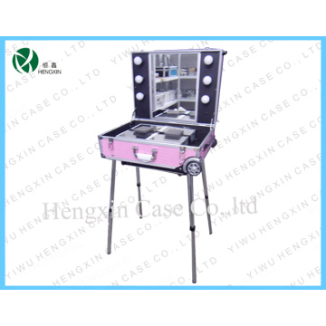 Professional Pink Light Cosmetic Case Makeup Station with Lights