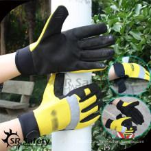 SRSAFETY 2015 рыболовные перчатки с кожаными рабочими перчатками / спортивные спортивные перчатки с эластановой спинкой