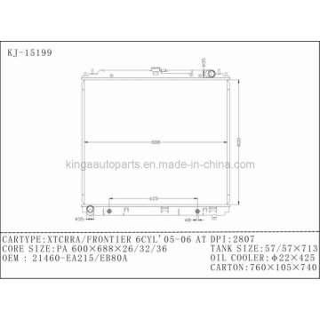 Radiador de automóvil para Nissan Xtcrra / Frontier 6cyl 05-06 en