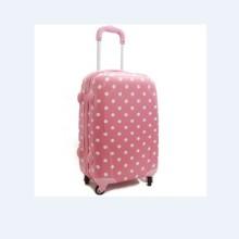 Painel cor-de-rosa com grupos brancos da bagagem dos pontos para meninas