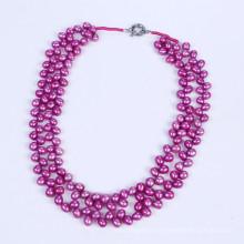 El Color púrpura caliente 6-7mm collar de perlas agua dulce
