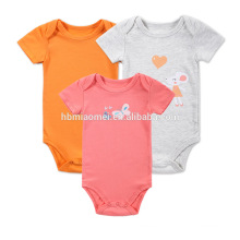 Wholesale infant and toddler onesie orange red grey color printed cheap organic baby plain rompers
