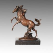 Tier Bronze Skulptur Pferd Springende Dekor Messing Statue Tpal-256