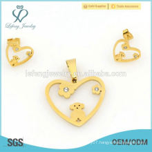 Unique fashion style yellow gold heart shape jewelry sets wholesale