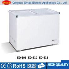 Refrigerador del helado de la puerta de cristal de la diapositiva 198L con CE ROHS