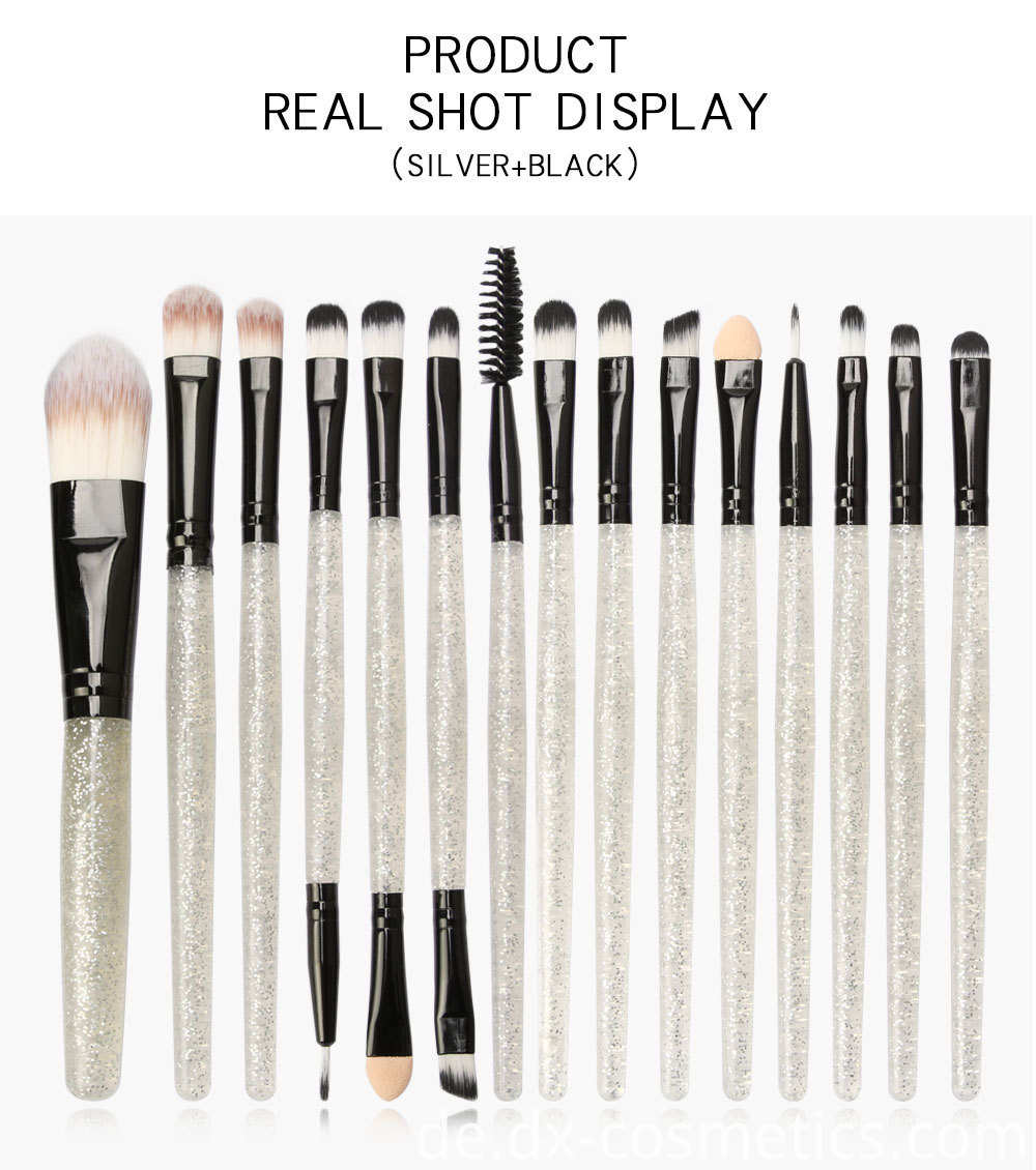 15 Pieces Crystal Travel Makeup Brushes Set 6-2