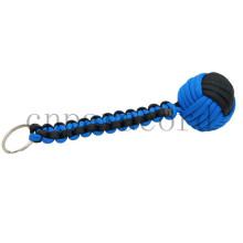 Chaveiro azul e preto com o punho do macaco do paracord da bola da autodefesa