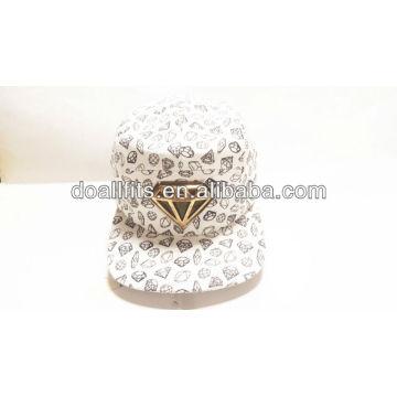 Novo 5 painéis flat snapback chapéu e skullcap com crachá de metal fresco