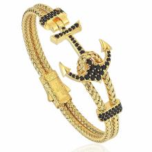 Gold Color Steel Wire Cord Anchor Zircon Gelang