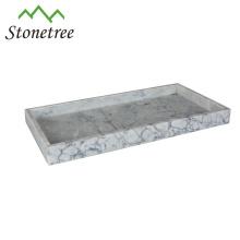 Plat de plat de service de nourriture de marbre naturel rectangulaire de vente chaude