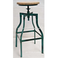 industrial stool antique turquoise color metal tube base