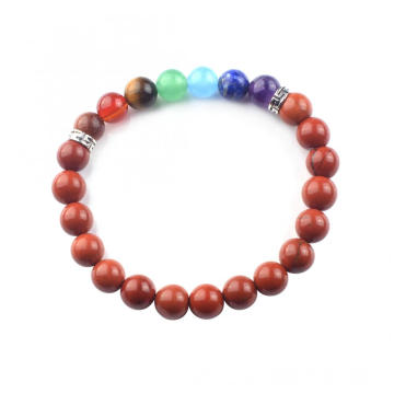 Charms Red Jasper 8MM 7 Chakra Gemstone Bracelet Healing Beads Chain Bangle