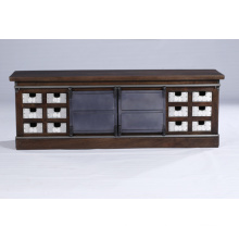 Industrial Vintage 12 Sliver Plated Drawers and 2 Metal Slide Doors TV Stand Cabinet